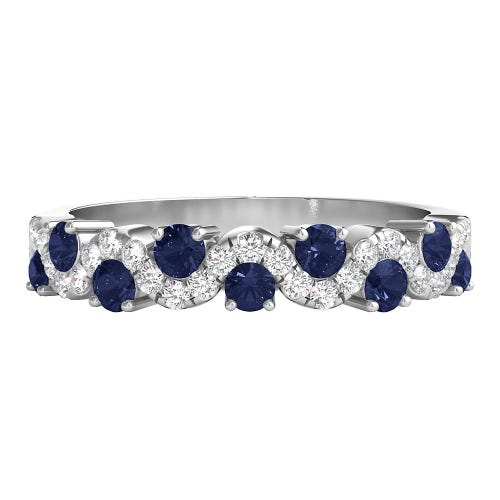 1/4 ct. tw. Diamond & Sapphire Band in 14K White Gold