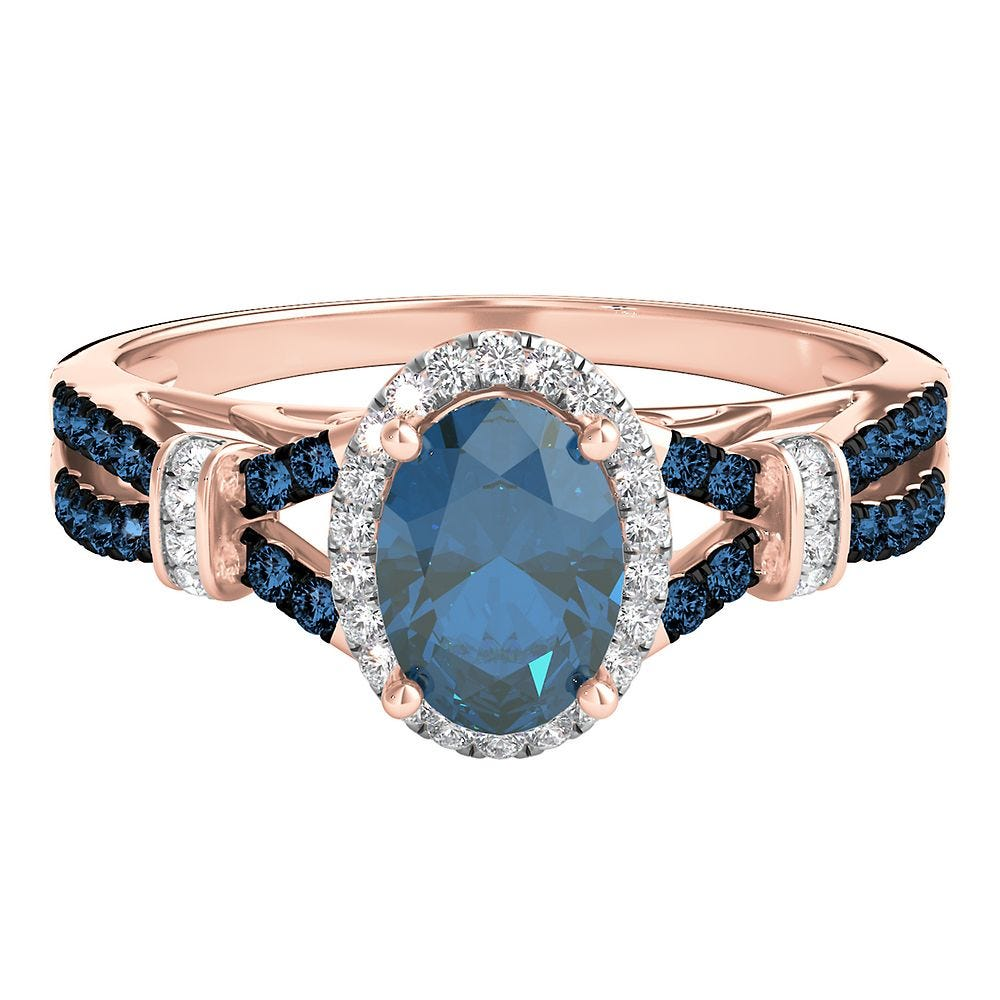Blue Topaz 1 5 Ct Tw White Blue Diamond Ring In 10k Rose