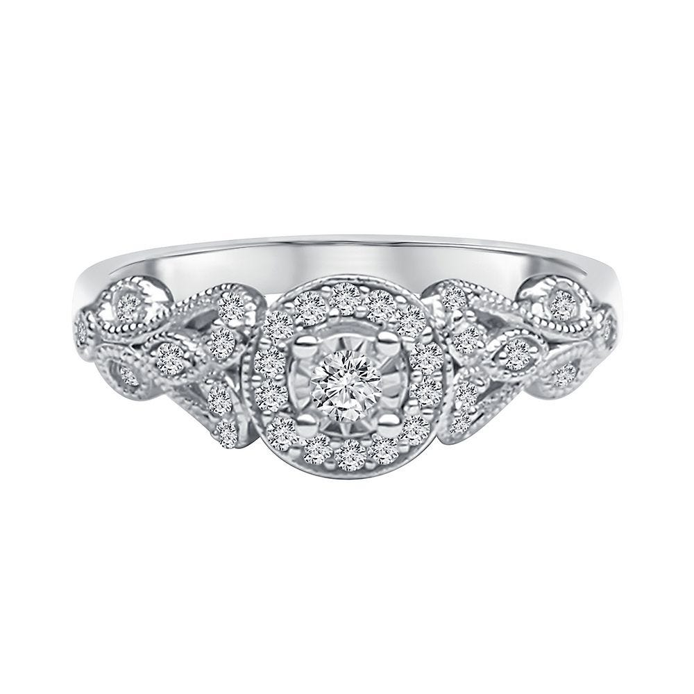1/5 ct. tw. Diamond Engagement Ring in 10K White Gold - Helzberg Signature