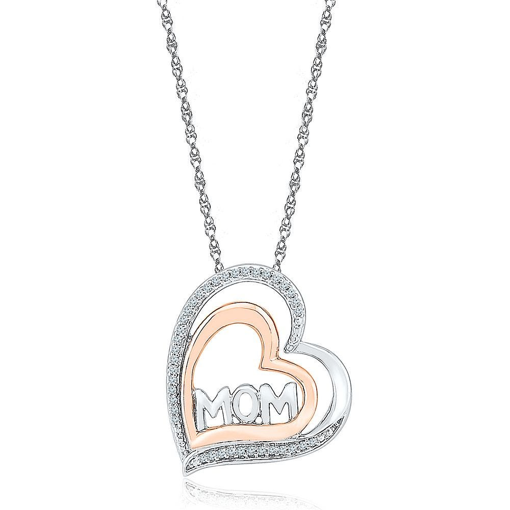 """/""""MOM/"""" TRI-COLOR HEART LOCKET WITH ROSE STERLING SILVER"""