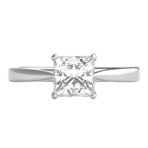 Radiant Star 1 Ct Tw Princess Cut Diamond Solitaire Engagement Ring In 14k White Gold Helzberg Diamonds