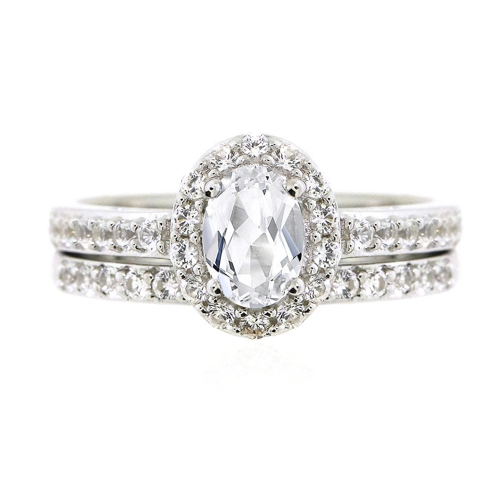 Platinum Sterling Silver White Green Sapphire Halo Pear Shape Vintage Style Ring
