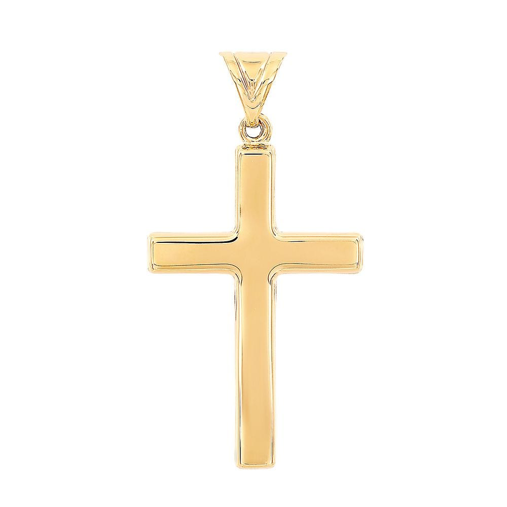 14K Yellow Gold Polished Cross Charm