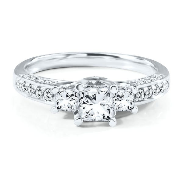 1 Ct Tw Three Stone Diamond Engagement Ring In 14k Gold Helzberg Diamonds