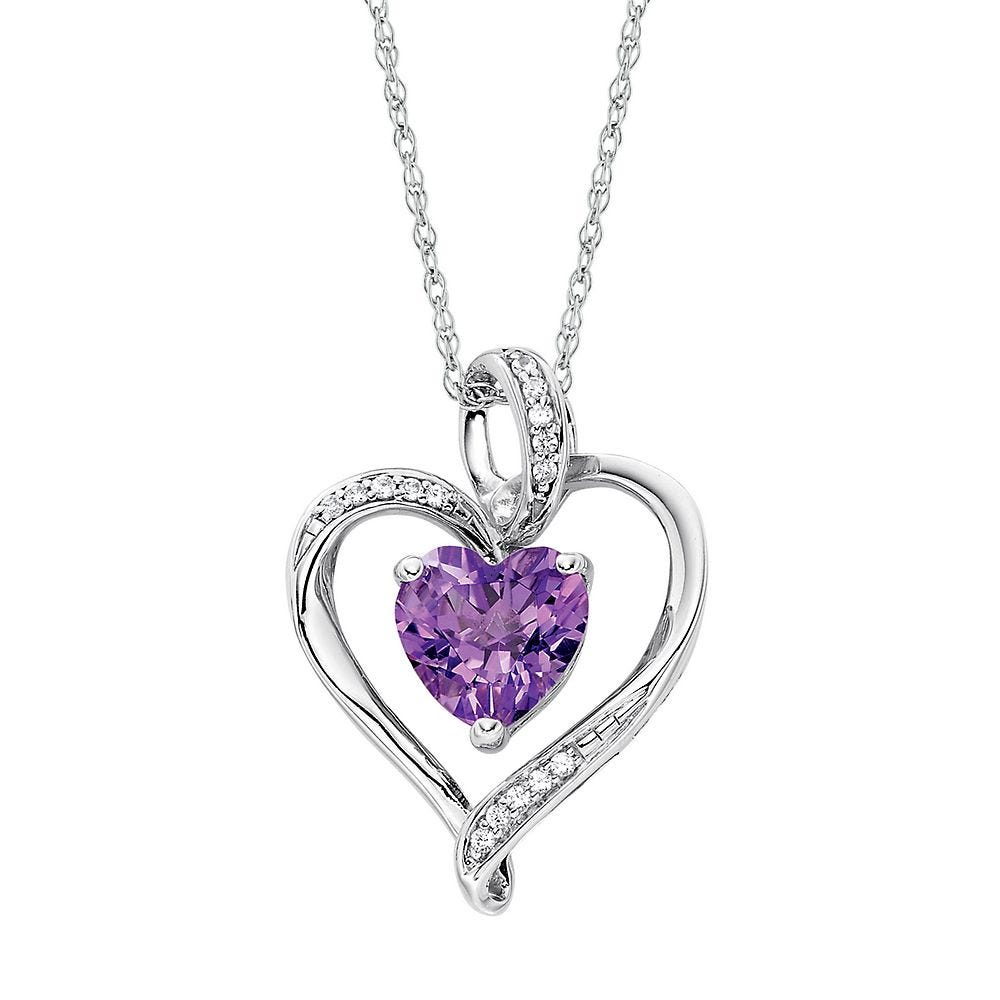 You Have My Heart silver pendant with Amethyst Ready to ship