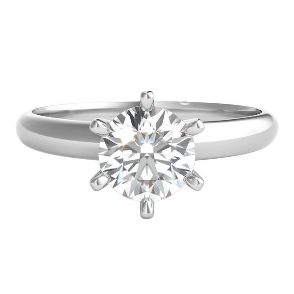 1 Ct Tw Prima Diamond Solitaire Engagement Ring In 14k White Gold Helzberg Diamonds