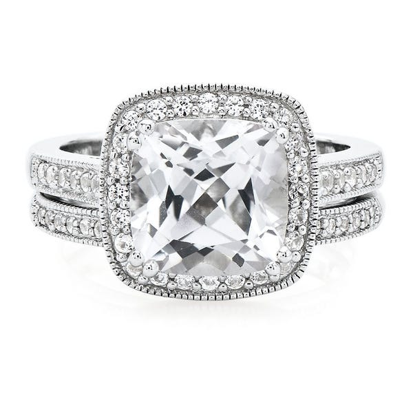 Lab Created Cushion Shaped White Sapphire Engagement Ring Set In Sterling Silver Helzberg Diamonds