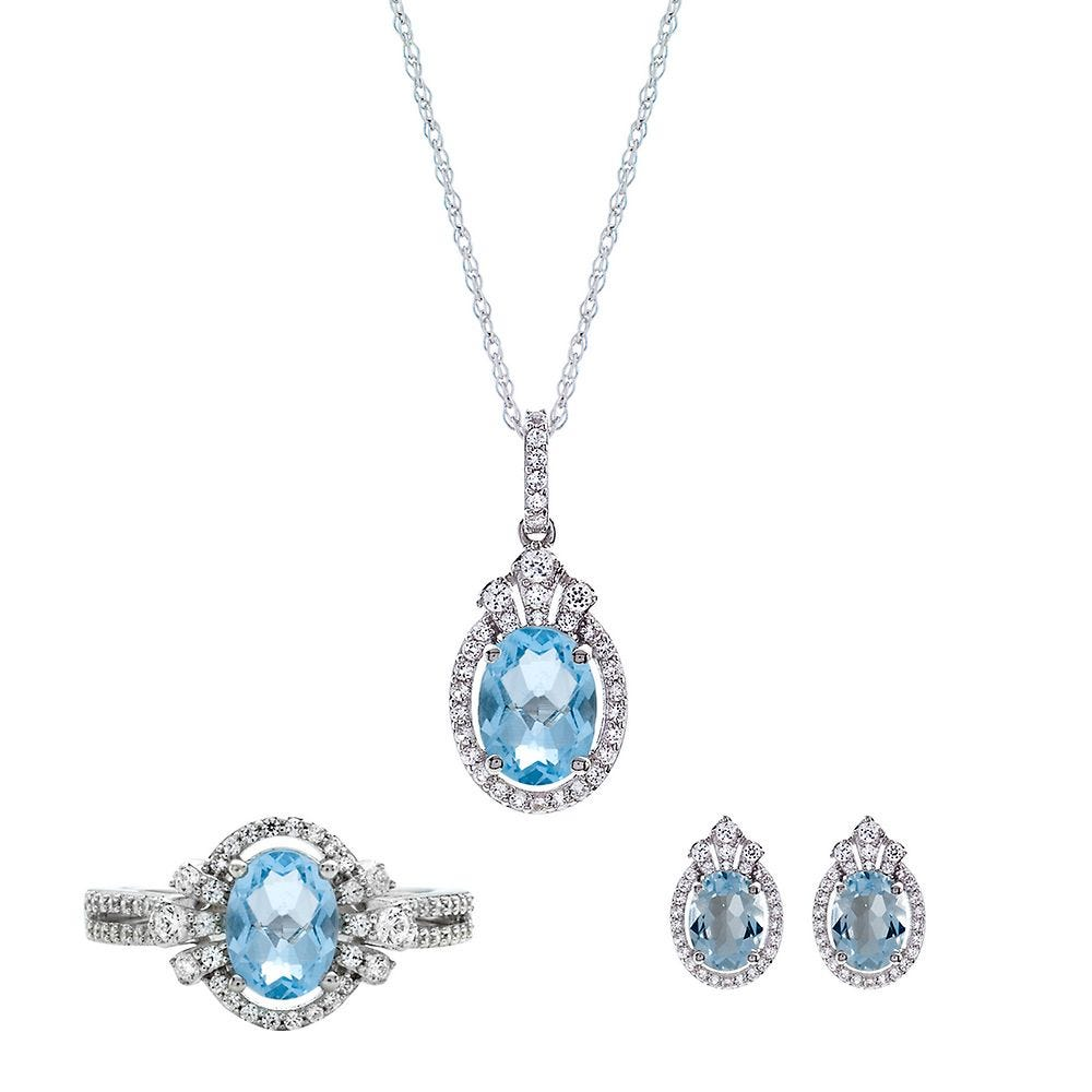 Lovely Natural Blue Topaz Oval in Sterling SIlver pendant