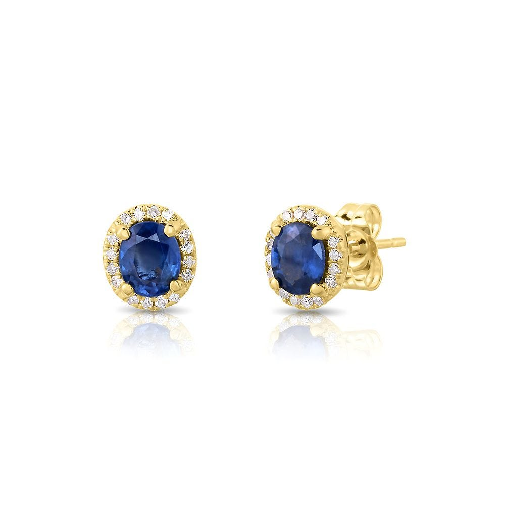 14k gold and Large Blue Sapphire Earrings
