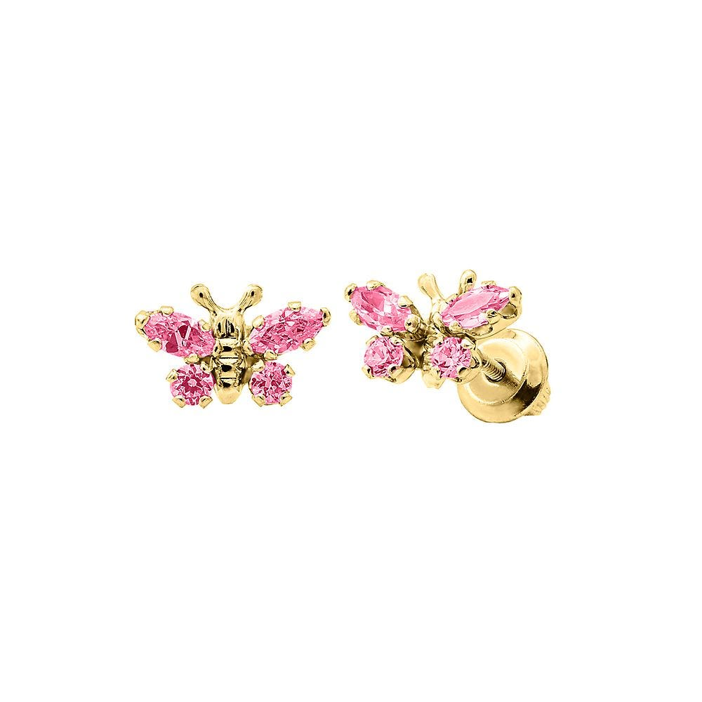 14k gold jewelry Natural rose quartz set in Solid 14k yellow gold 14k yellow gold earrings gemstone earrings Butterfly studs