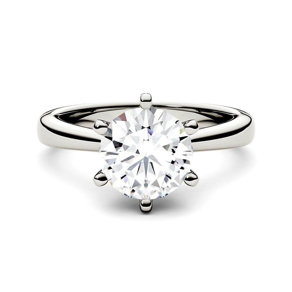 Dainty Ring 1.23 CT Round Colorless Moissanite Ring Engagement Ring 14KT White Gold Ring Wedding Ring Forever One Moissanite Ring