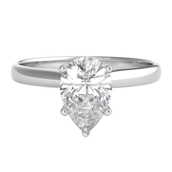 1 Ct Tw Diamond Pear Shaped Solitaire Engagement Ring In 14k White Gold Helzberg Diamonds
