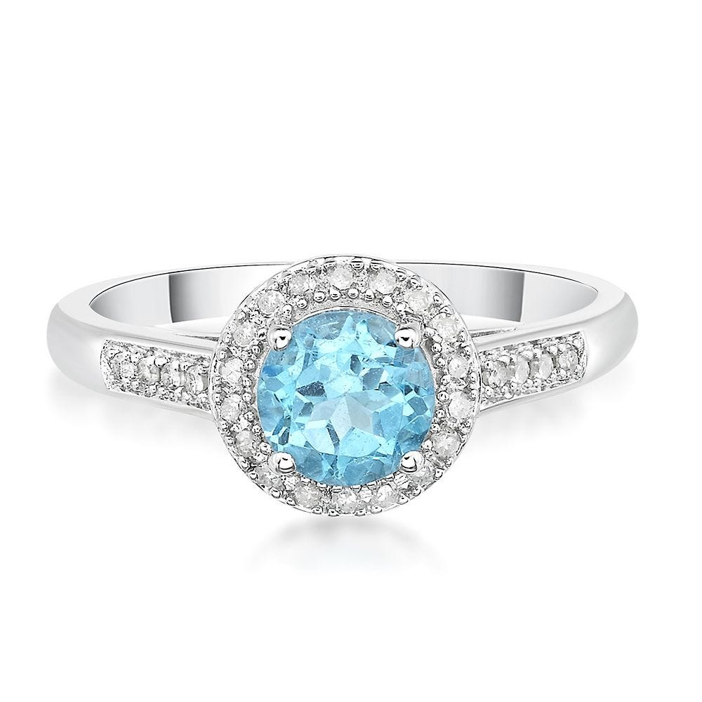 Blue Topaz Ring Size 9 Solitaire Ring Her Blue Ring Mothers Day Gift Light Sterling Silver Ring Light Blue Solitaire Natural Topaz