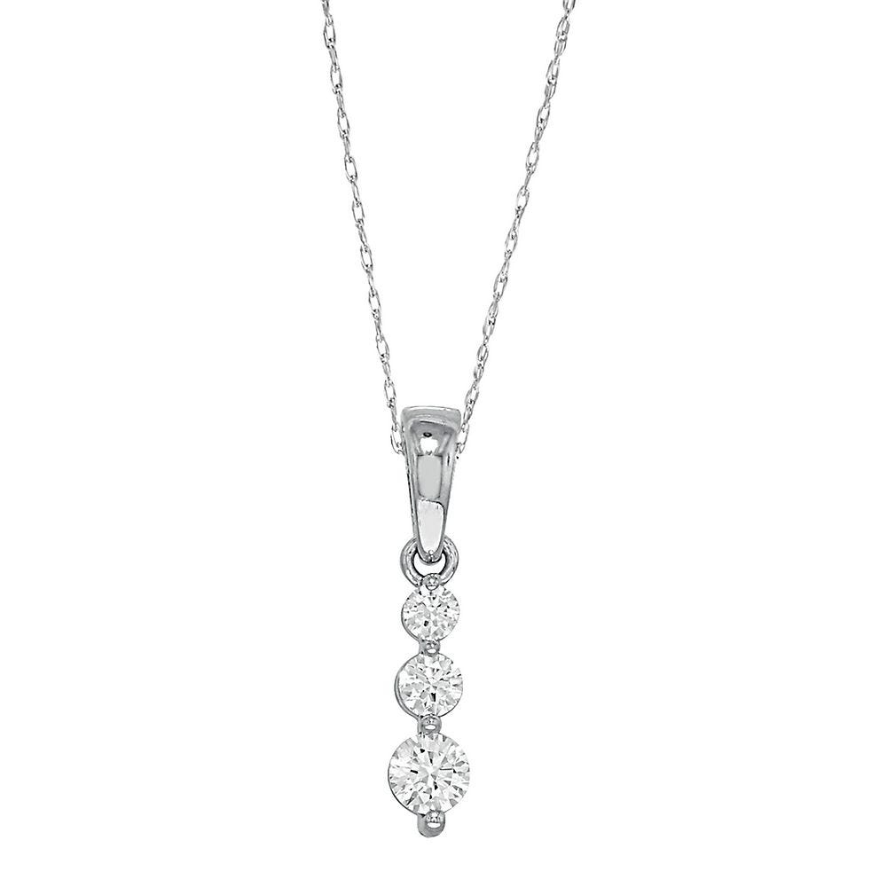 Details about  /1//4 Carat TW Diamond Three Stone Pendant in 14K Yellow Gold
