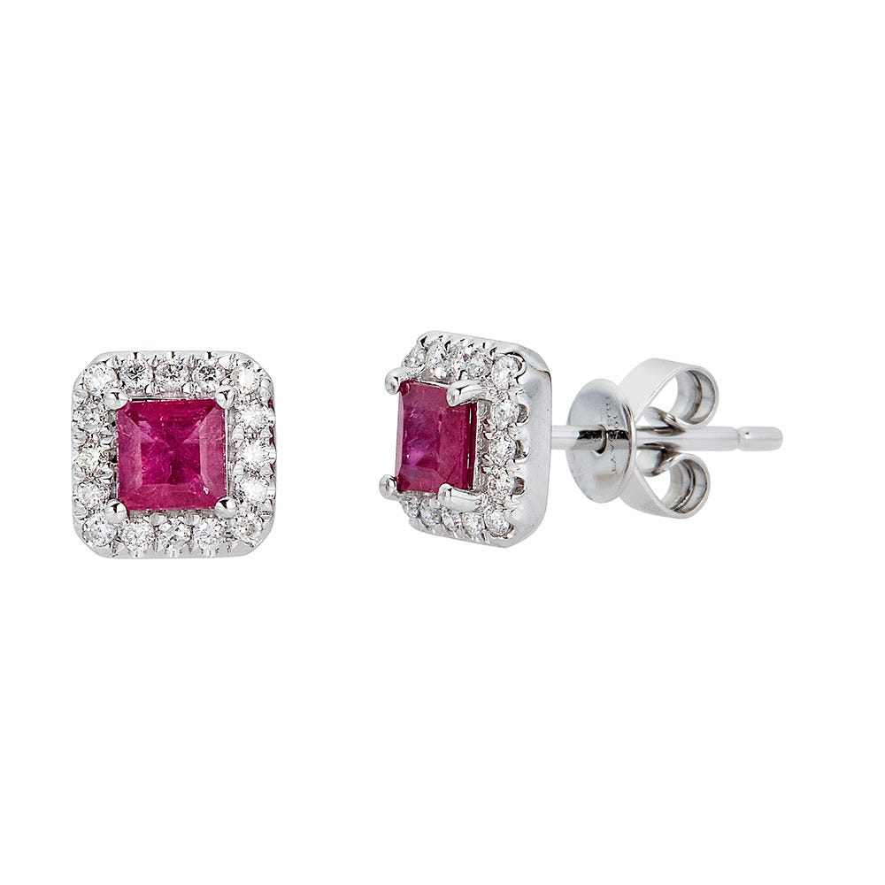 Details about  /14k White Gold Ruby Scroll Diamond Earrings