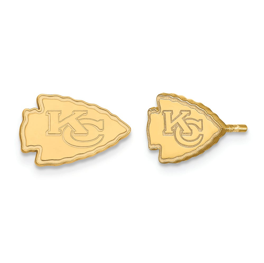KC Chiefs earrings gift for her gold hook plastic 3D printed pierced or clip-on Kansas City Chiefs skyline in arrowhead black