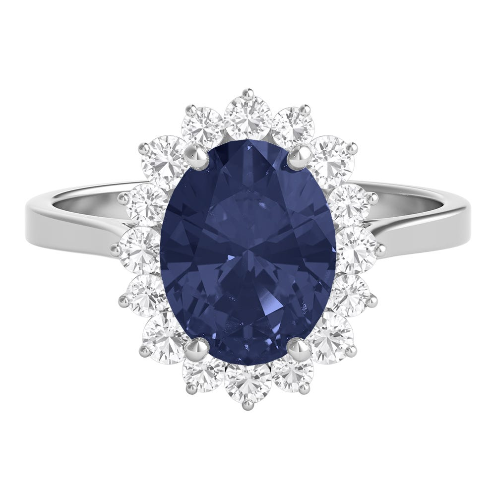 Silver Diamond and Sapphire Ring
