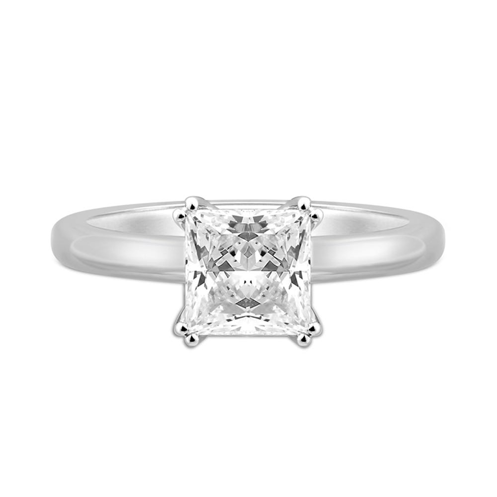 Details about  /2.08 Tcw Plain Shank Princess Cut Solitaire Engagement Ring in Rose Gold