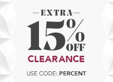 Take an extra 15% off already reduced clearance prices now through December 2nd. Use code: PERCENT