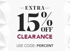 Take an extra 15% off already reduced clearance prices now through January 18th. Use code: PERCENT
